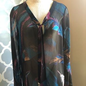 Express Tops - Sheer bell sleeve tunic top
